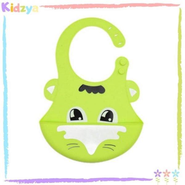 Green Cartoon Silicone Bib For Babies