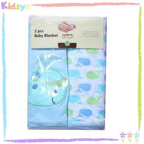 LightBlue Hooded Towel w 4pcs Washcloths Set For Babies
