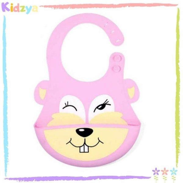 Pink Cartoon Silicone Bib For Babies
