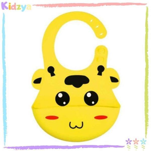 Yellow Cartoon Silicone Bib For Babies